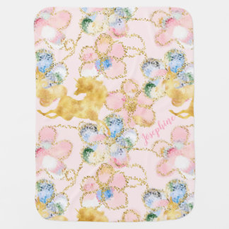 Girly Floral Unicorn Pink Gold Personalized Baby Blanket