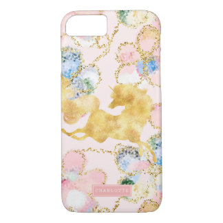 Girly Floral Unicorn Pink Gold Personalized iPhone 8/7 Case