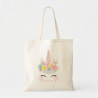 Girly Floral Unicorn Pink Gold Personalized Tote Bag
