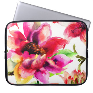"Girly Floral Vintage Pink Lilies Laptop Sleeve 15"""