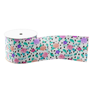 Girly floral watercolor brushstrokes pattern grosgrain ribbon