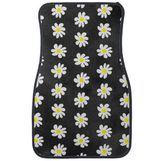 Girly floral white daisy pattern black watercolor car carpet