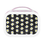 Girly floral white daisy pattern black watercolor lunch box