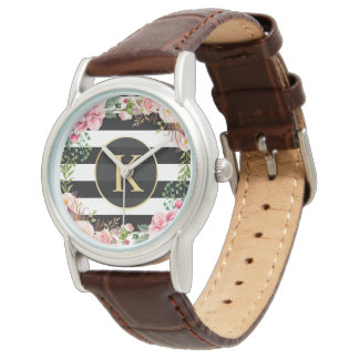 Girly Floral Wrapping Black White Stripes Monogram Watch