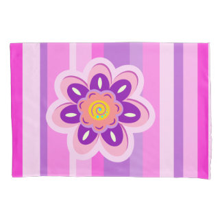 Girly flower and stripes pillowcase