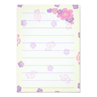 """Girly Flower Doodles stationery (thick) 4.5"""" X 6.25"""" Invitation Card"""