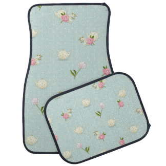 Girly Flowers, Teapots and Polka Dots Car Mat
