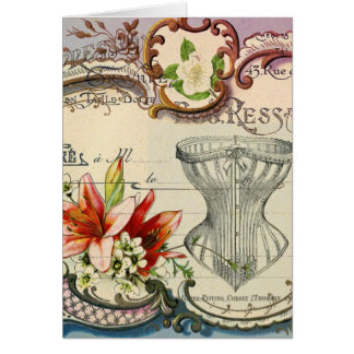 Girly french country lily Parisian vintage corset Card