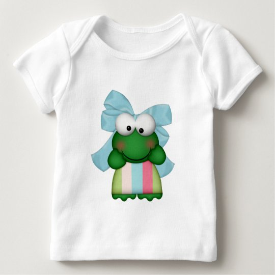 girly  froggy in stripe dress with bow