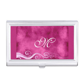 Girly Fuchia with White Swirls and Monogram Business Card Holder