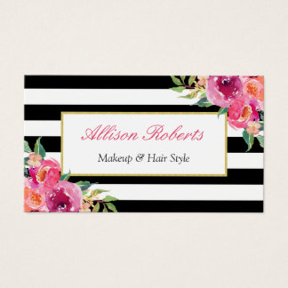 Girly Fuchsia Floral Makeup Artist Beauty Salon Business Card