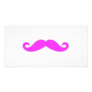 Girly Fuchsia Pink Mustache Custom Photo Card