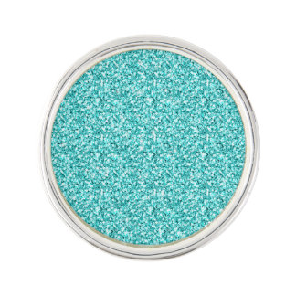 Girly, Fun Aqua Blue Glitter Printed Lapel Pin