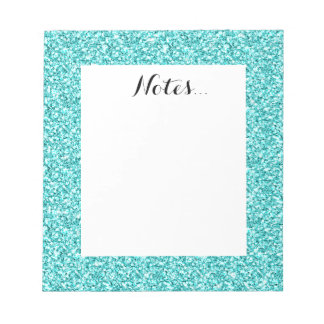 Girly, Fun Aqua Blue Glitter Printed Notepads