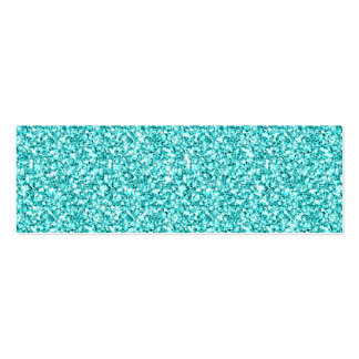 Girly, Fun Aqua Blue Glitter Printed Pack Of Skinny Business Cards