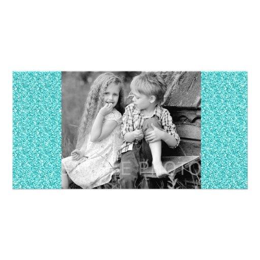 Girly, Fun Aqua Blue Glitter Printed Photo Card Template