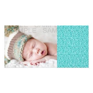 Girly, Fun Aqua Blue Glitter Printed Personalized Photo Card