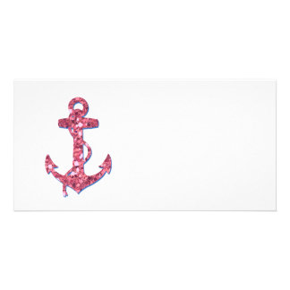Girly, Fun, Pink Glitter Anchor Printed Photo Greeting Card