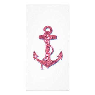 Girly, Fun, Pink Glitter Anchor Printed Photo Card