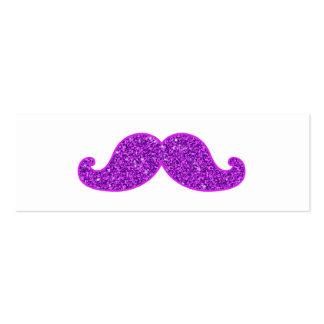 Girly fun retro mustache purple glitter mini business card