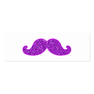 Girly fun retro mustache purple glitter pack of skinny business cards