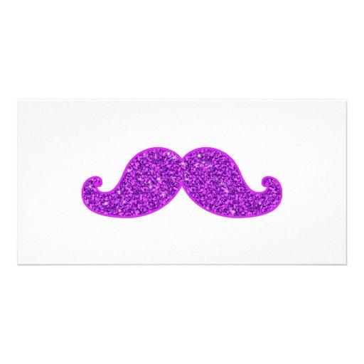 Girly fun retro mustache purple glitter personalized photo card