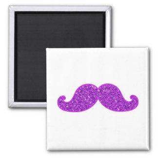 Girly fun retro mustache purple glitter printed magnet