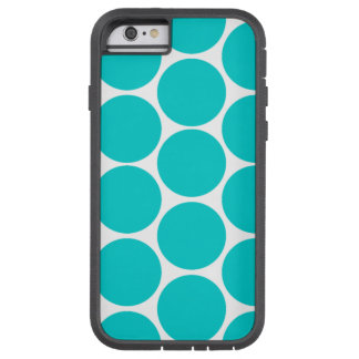 GIRLY FUN TEAL POLKA DOTS LARGE TOUGH XTREME iPhone 6 CASE