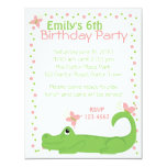 Girly Gator 4.25x5.5 Paper Invitation Card