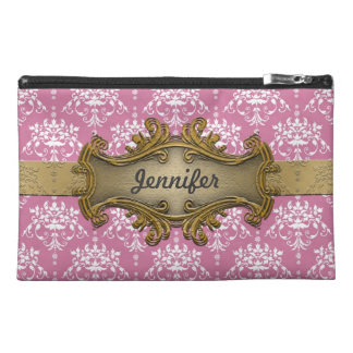 Girly Gawdy Pink and White Damask With Gold Travel Accessories Bag