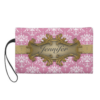Girly Gawdy Pink and White Damask With Gold Wristlet Purse