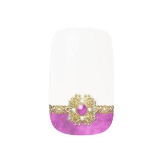 Girly Gems pink gold Nail Art
