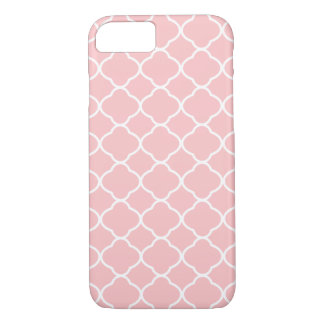Girly Geometric Pattern Blush Pink and White iPhone 8/7 Case