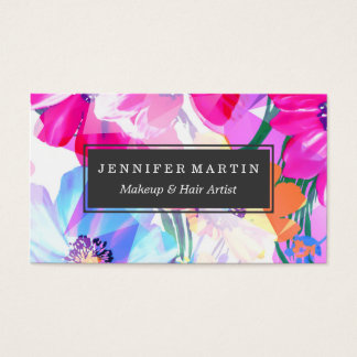 Girly Geometric Triangle Flowers Pattern Business Card