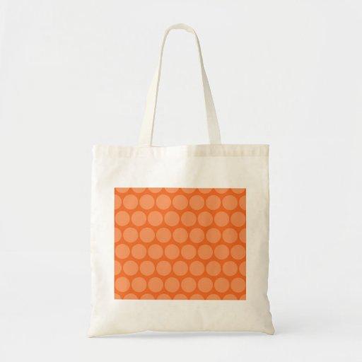 Girly Giant Big Orange Peach Polka Dots Pattern Tote Bag