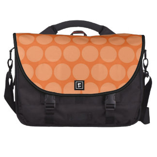 Girly Giant Big Orange Peach Polka Dots Pattern Laptop Commuter Bag