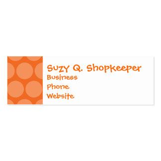 Girly Giant Big Orange Polka Dots Pattern Mini Business Card