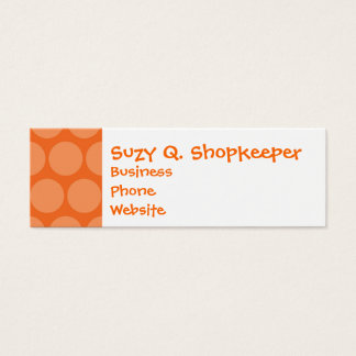 Girly Giant Big Orange Polka Dots Pattern Mini Business Card