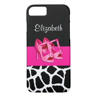 Girly Giraffe Print Cute Pink Shoes With Name iPhone 7 Case