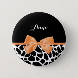 Girly Giraffe Print Orange Ribbon Bow With Name 2 Inch Round Button