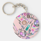 Girly Girl Hand Painted Watercolor Makeup on Pink Keychain