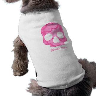Girly girl pink elegant swirly skull dog tee