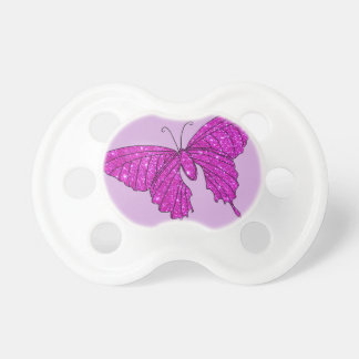 Girly Girl Pink Sparkle Glitter Butterfly Lilac Baby Pacifiers