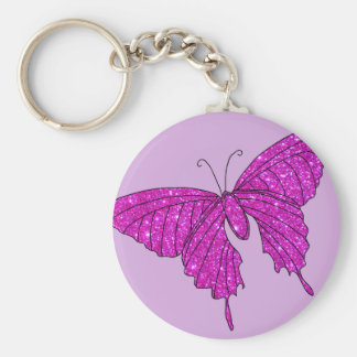 Girly Girl Pink Sparkle Glitter Butterfly Lilac Basic Round Button Keychain