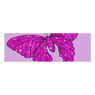 Girly Girl Pink Sparkle Glitter Butterfly Lilac Double-Sided Mini Business Cards (Pack Of 20)