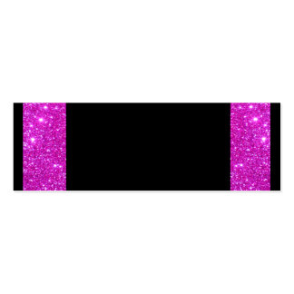 Girly Glam Black with Sparkly Pink Glitter Frame Mini Business Card