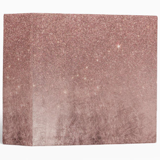 Girly Glam Pink Rose Gold Foil and Glitter Mesh Binder