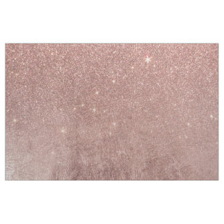 Girly Glam Pink Rose Gold Foil and Glitter Mesh Fabric