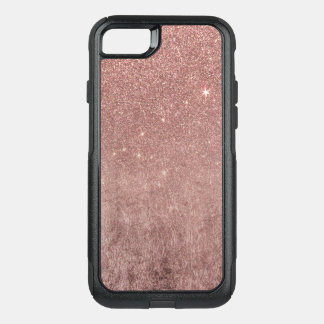 Girly Glam Pink Rose Gold Foil and Glitter Mesh OtterBox Commuter iPhone 8/7 Case