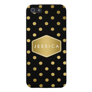 Girly Glitter Gold Polka Dots Pattern Black Cover For iPhone 5/5S